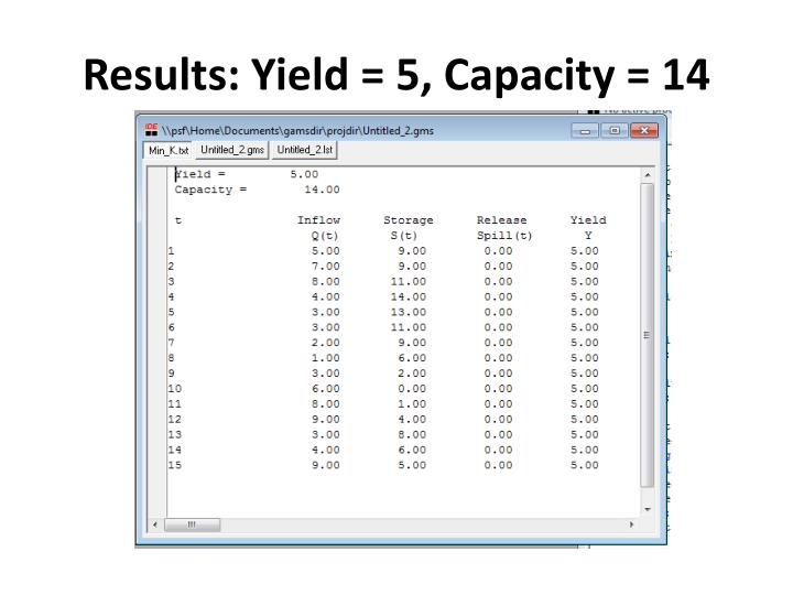 Results: Yield =
