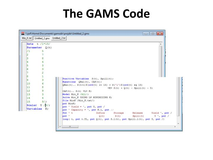 The GAMS Code