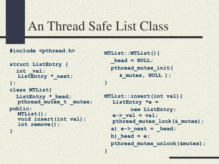 An Thread Safe List Class