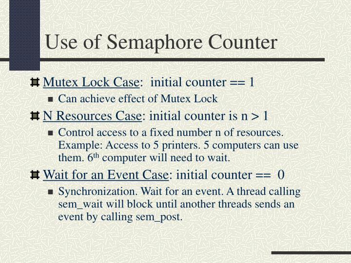 Use of Semaphore Counter