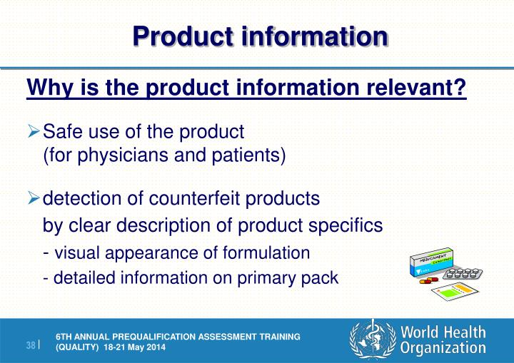 Why is the product information relevant?