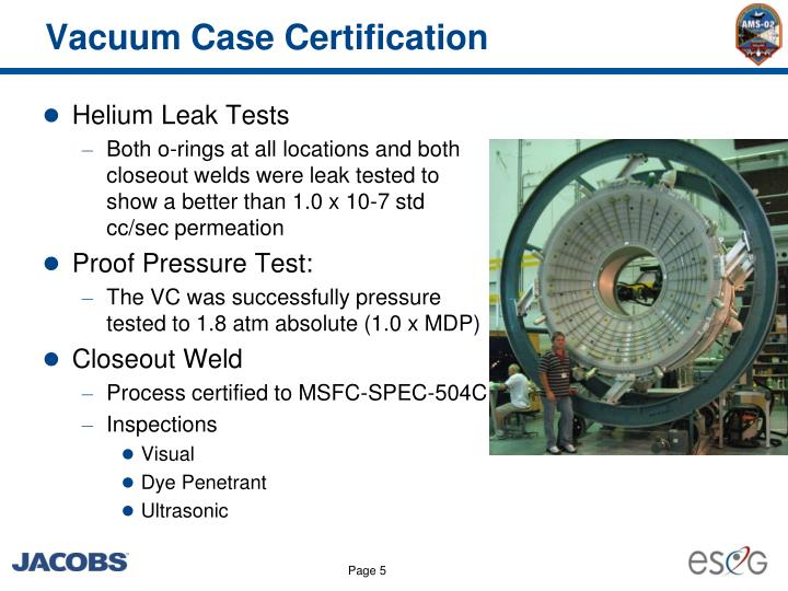 Vacuum Case Certification