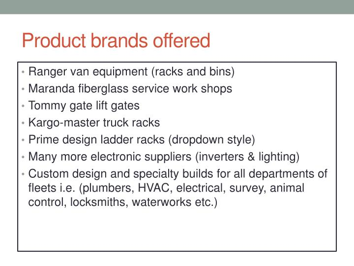 Product brands offered