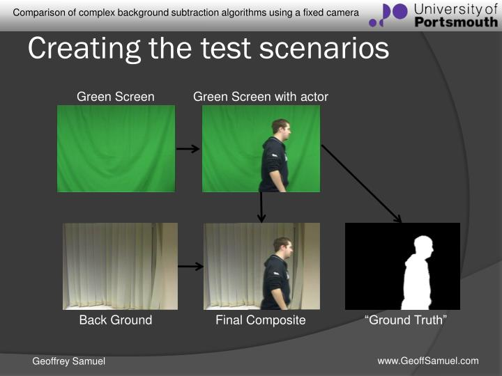Creating the test scenarios