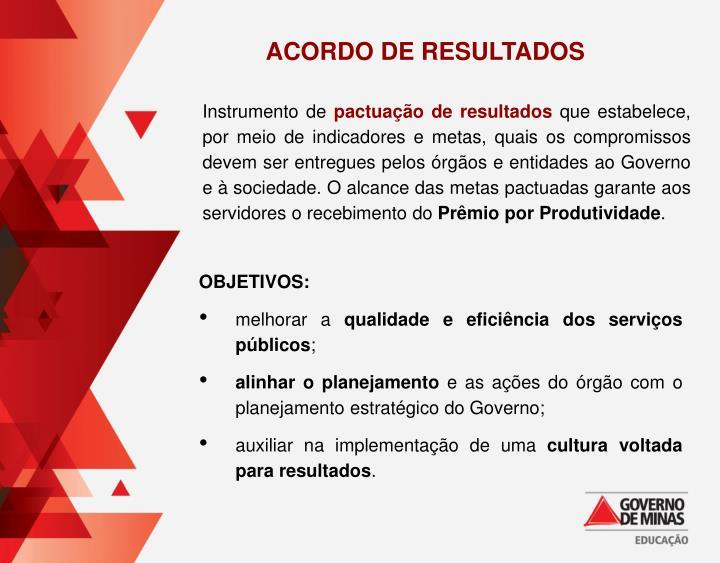 ACORDO DE RESULTADOS