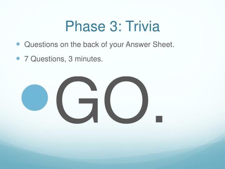 Phase 3: Trivia