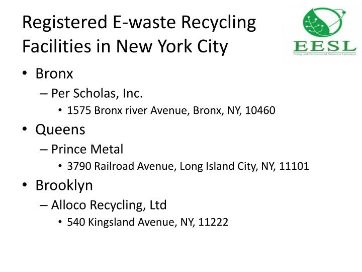 Registered e waste recycling facilities in new york city