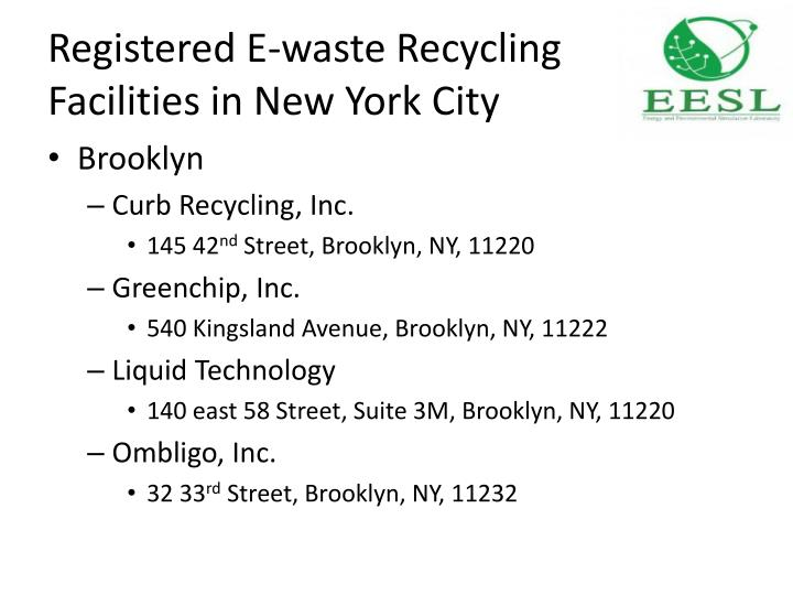 Registered e waste recycling facilities in new york city1