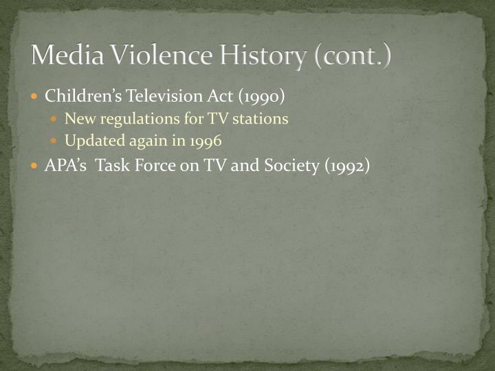 Media Violence History (cont.)