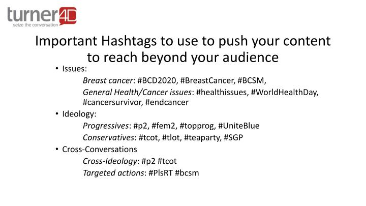 Important Hashtags to use to push your content to reach beyond your audience
