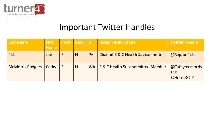Important Twitter Handles