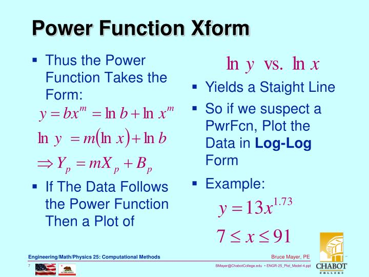 Thus the Power Function Takes the Form: