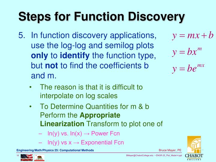 In function discovery applications,  use the log-log and semilog plots