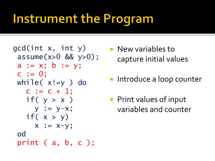 Instrument the Program
