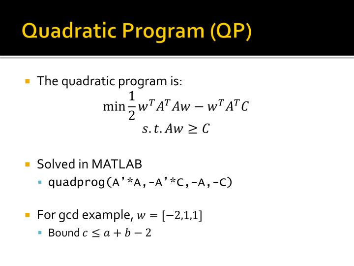 Quadratic Program (QP)