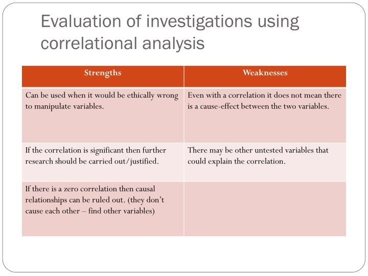 Evaluation of investigations using