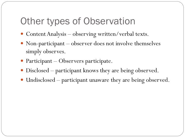 Other types of Observation