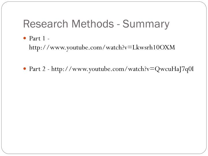 Research Methods - Summary