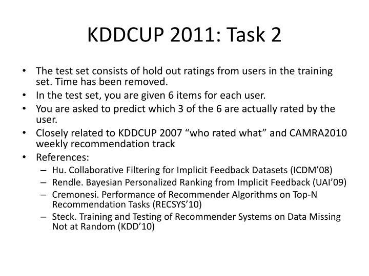 KDDCUP 2011: Task 2