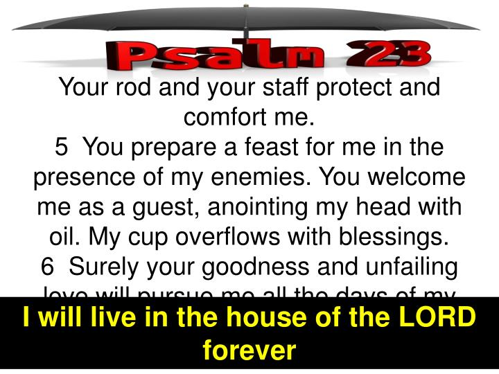 Your rod and your staff protect and comfort me.