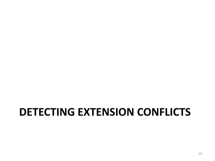 Detecting Extension Conflicts