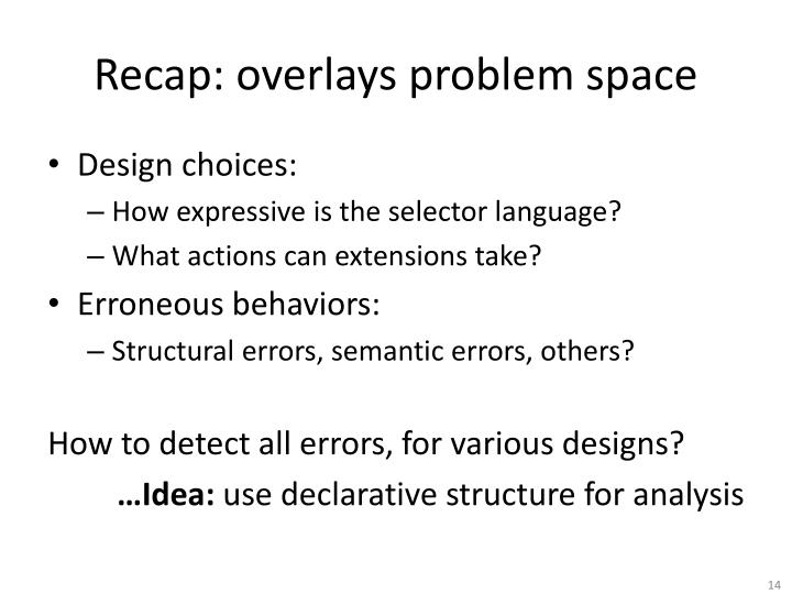 Recap: overlays problem space