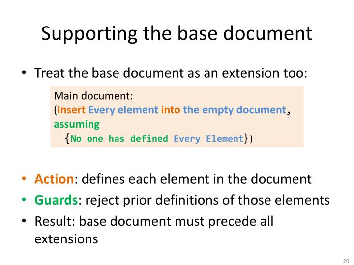 Supporting the base document