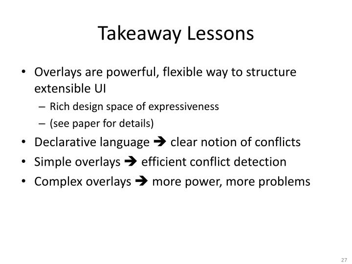 Takeaway Lessons