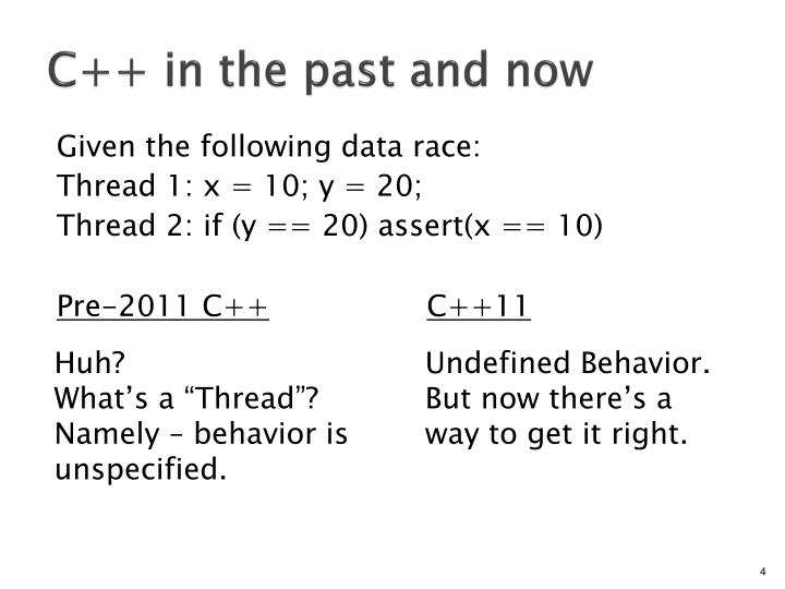 C++ in the past and now