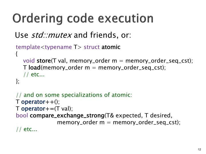 Ordering code execution