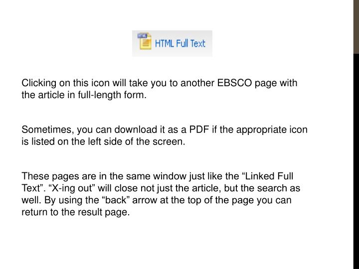 Clicking on this icon will take you to another EBSCO page with the article in full-length form.