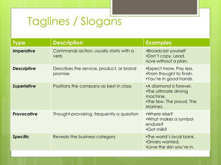 Taglines / Slogans
