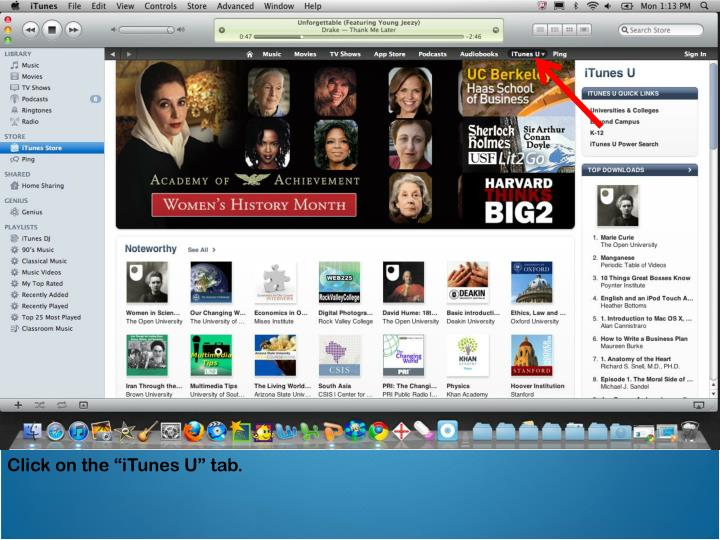 "Click on the ""iTunes U"" tab."