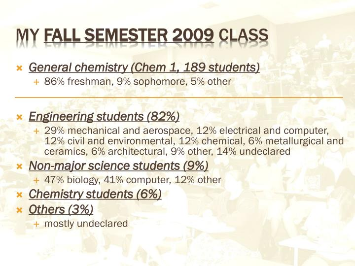 General chemistry (Chem 1, 189 students)