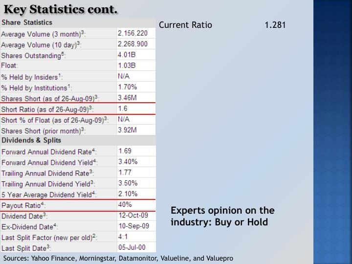 Key Statistics cont.