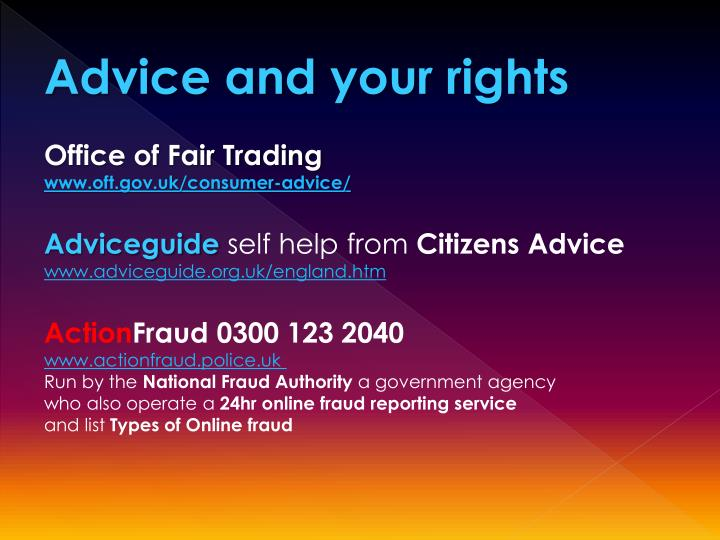 Advice and your rights