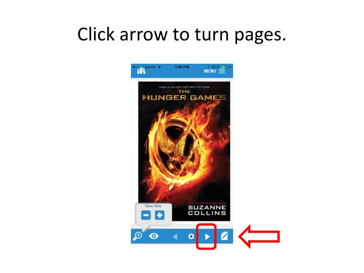 Click arrow to turn pages.