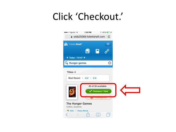 Click 'Checkout.'