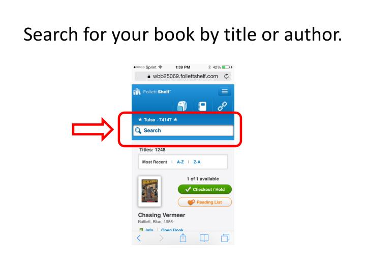 Search for your book by title or author.