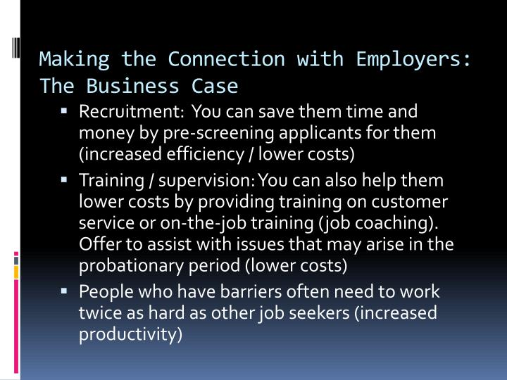 Making the Connection with Employers: