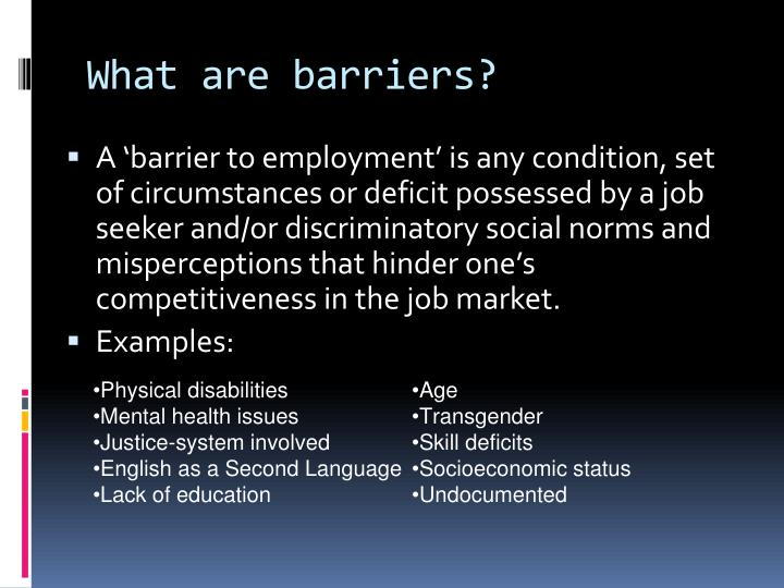 What are barriers