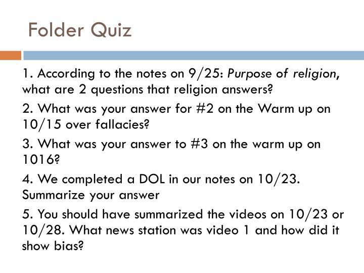 Folder Quiz
