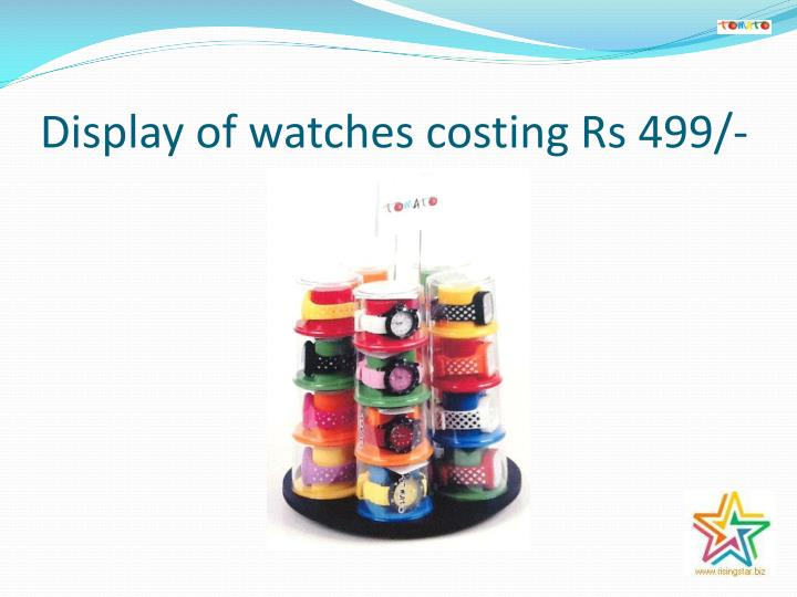 Display of watches costing Rs