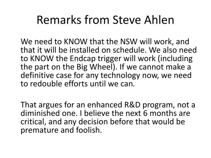 Remarks from Steve Ahlen