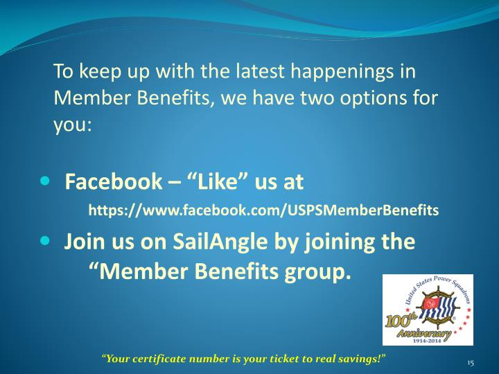 To keep up with the latest happenings in Member Benefits, we have two options for you: