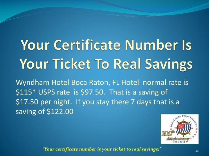Your Certificate Number Is Your Ticket To Real Savings