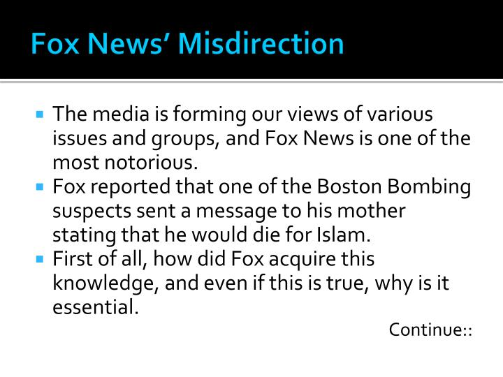 Fox News' Misdirection