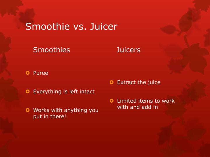 Smoothie vs. Juicer
