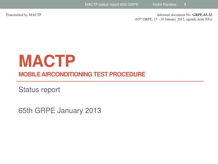Mactp mobile airconditioning test procedure