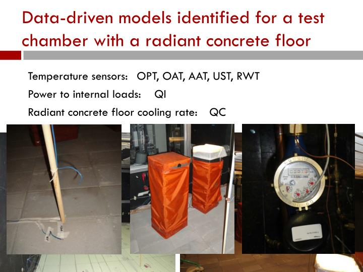 Data-driven models identified for a test chamber with a radiant concrete floor